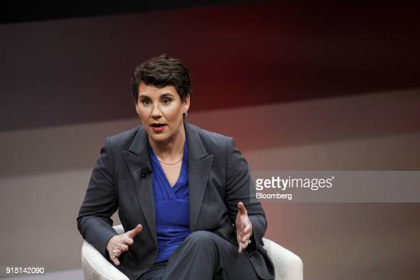 Amy McGrath former US Marine and Democratic congressional candidate for Kentucky speaks during the 2018 MAKERS Conference in Hollywood California US...