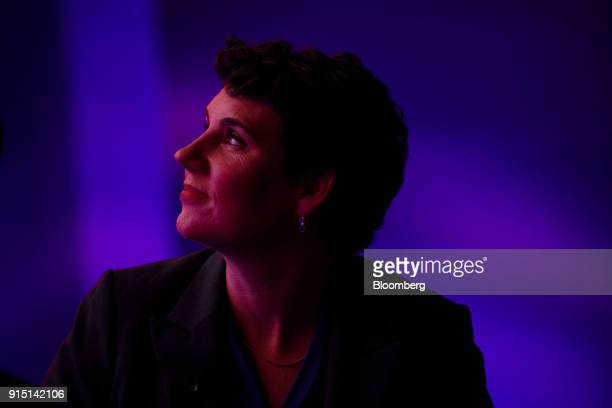 Amy McGrath former US Marine and Democratic congressional candidate for Kentucky listens during the 2018 MAKERS Conference in Hollywood California US...