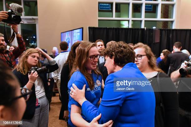 Amy McGrath greets supporters during the Amy McGrath Election Night Event at the EKU Center for the Arts on November 6 2018 in Richmond Kentucky