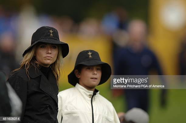 Amy Mickelson and Christian DiMarco on No 13 during Round 2 morning FourBall matches the Ryder Cup held at The KClub in Straffan Ireland Saturday...