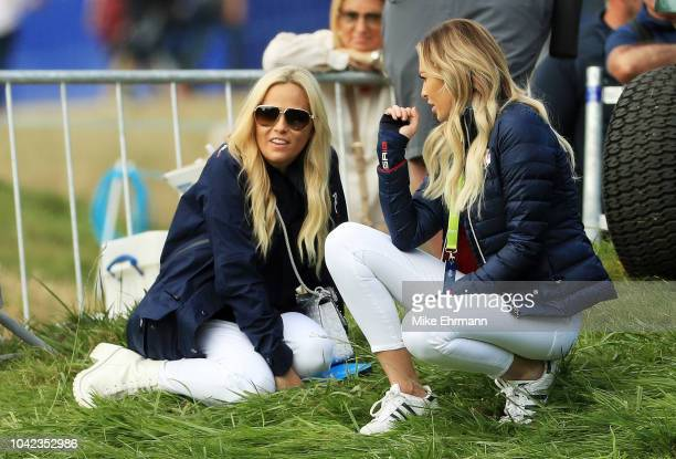 Amy Mickelson and Paulina Gretzky look on during the morning fourball matches of the 2018 Ryder Cup at Le Golf National on September 28 2018 in Paris...