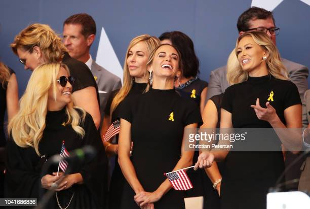 Amy Mickelson Jena Sims and Paulina Gretzky attend the opening ceremony for the 2018 Ryder Cup at Le Golf National on September 27 2018 in Paris...