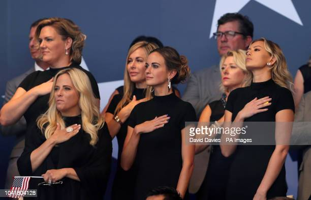 Amy Mickelson Jena Sims and Paulina Gretzky during the Ryder Cup Opening Ceremony at Le Golf National SaintQuentinenYvelines Paris