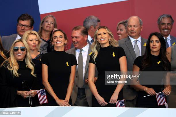 Amy Mickelson Jena Sims Paulina Gretzky and Allison Stokke attend the opening ceremony for the 2018 Ryder Cup at Le Golf National on September 27...