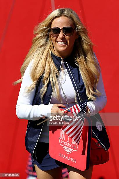 Amy Mickelson looks on during singles matches of the 2016 Ryder Cup at Hazeltine National Golf Club on October 2 2016 in Chaska Minnesota
