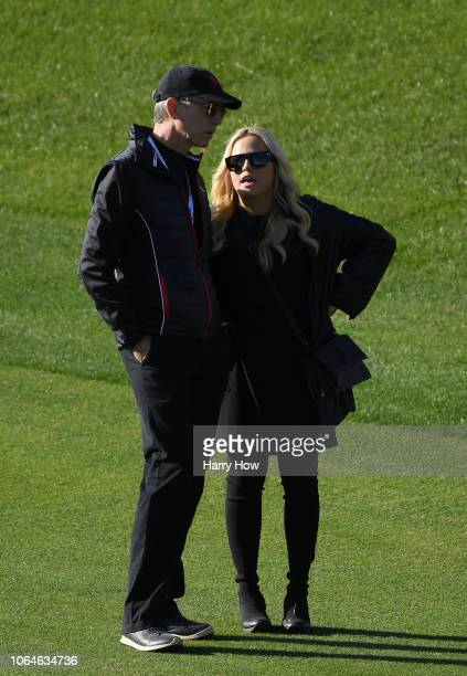 Amy Mickelson wife of Phil Mickelson of the United States looks on during The Match Tiger vs Phil at Shadow Creek Golf Course on November 23 2018 in...