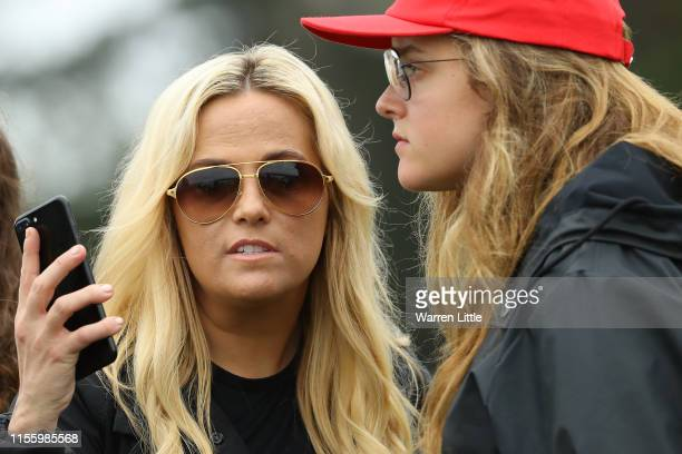 Amy Mickelson wife of Phil Mickelson of the United States looks on during the second round of the 2019 US Open at Pebble Beach Golf Links on June 14...