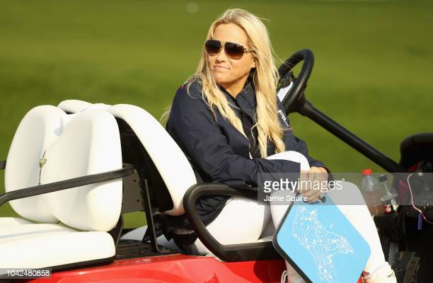 Amy Mickelson wife of Phil Mickelson of the United States watches on during the afternoon foursome matches of the 2018 Ryder Cup at Le Golf National...