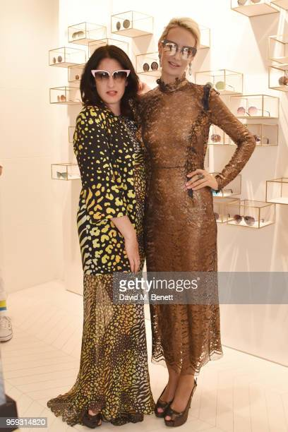 Amy Molyneaux and Victoria Hervey attend an exclusive summer cocktail party showcasing the Linda Farrow x Lelloue collection on May 16 2018 in Cannes...