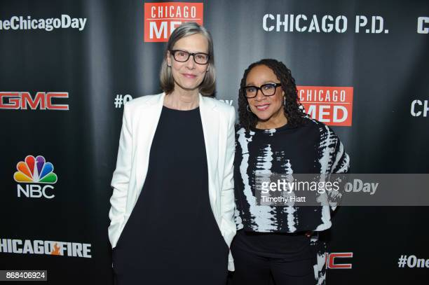 Amy Morton and S Epatha Merkerson attend the One Chicago party during NBC's 'One Chicago' press day on October 30 2017 in Chicago Illinois