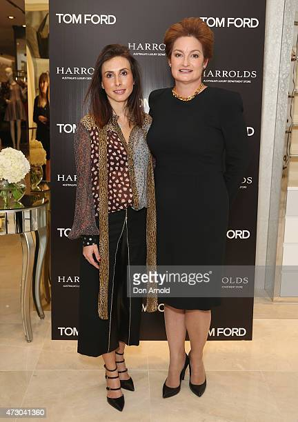Amy Nelson and Mary Poulakis arrive at the launch event for Harrolds' Tom Ford ShopInShop at Westfield Sydney Pitt Street on May 12 2015 in Sydney...