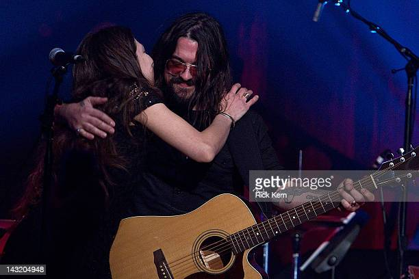 Amy Nelson and Shooter Jennings perform during 'We Walk The Line A Celebration Of The Music Of Johnny Cash' at ACL Live on April 20 2012 in Austin...