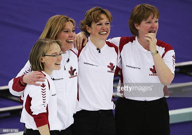 Amy Nixon Shannon Kleibrink Christine Keshen and Glenys Bakker of Canada celebrate after defeating Norway in the bronze medal match of the women's...