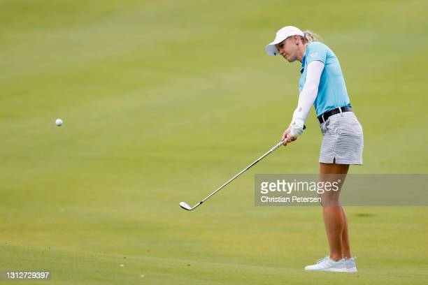 Amy Olson of the United States chips up to the third green during the second round of the LPGA LOTTE Championship at Kapolei Golf Club on April 15,...