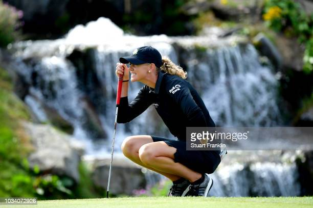 Amy Olson of the United States lines up a putt during Day Four of The Evian Championship 2018 at Evian Resort Golf Club on September 16 2018 in...