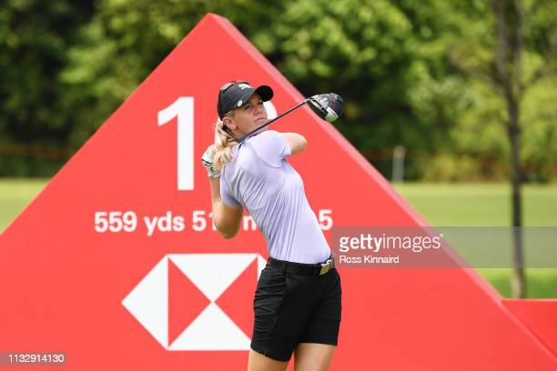 Amy Olson of the United States plays her shot from the 16th tee during the second round of the HSBC Women's World Championship at Sentosa Golf Club...