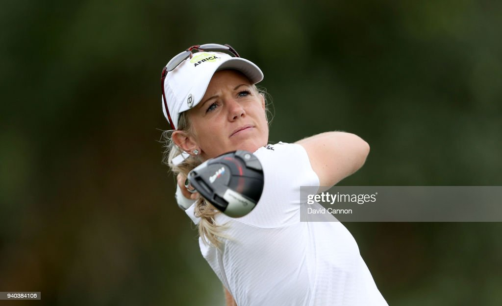 Amy Olson of the United States plays her tee shot on the par 4, 16th hole during the third round of the 2018 ANA Inspiration on the Dinah Shore Tournament Course at Mission Hills Country Club on March 31, 2018 in Rancho Mirage, California.