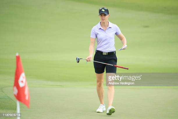 Amy Olson of the United States walks on the 18th green during the second round of the HSBC Women's World Championship at Sentosa Golf Club on March...
