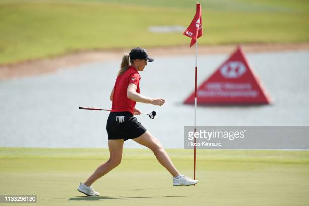 Amy Olson of the United States walks on the fifth green during the final round of the HSBC Women's World Championship at Sentosa Golf Club on March...