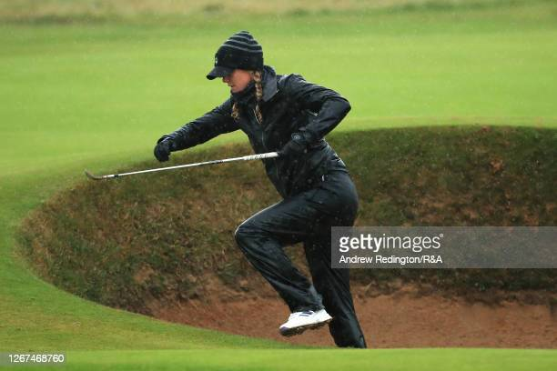 Amy Olson of USA makes her way out of the bunker on the 2nd during Day Two of the AIG Women's Open 2020 at Royal Troon on August 21, 2020 in Troon,...