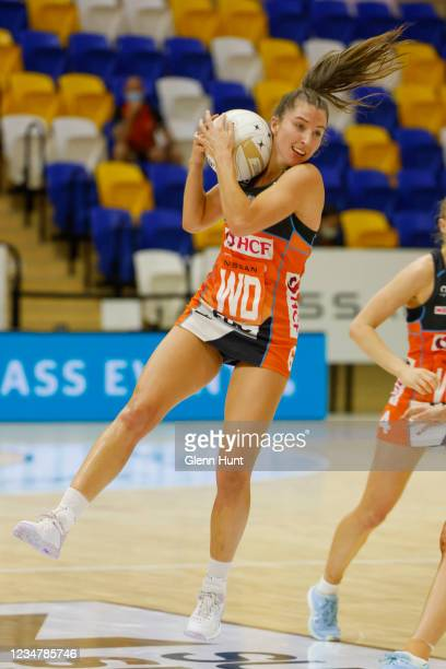 Amy Parmenter of the Giants controls the ball during the Preliminary Final Super Netball match between the GWS Giants and West Coast Fever at...
