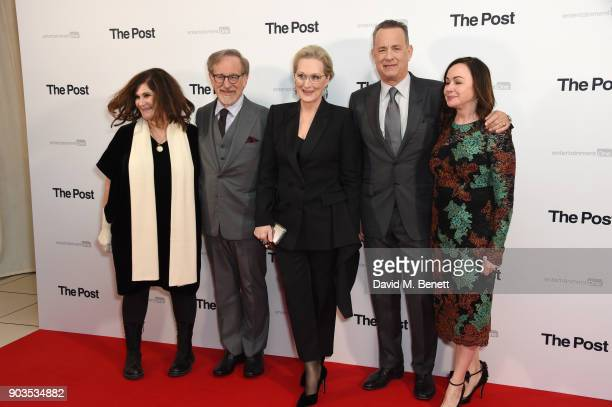 Amy Pascal Steven Spielberg Meryl Streep Tom Hanks and Kristie Macosko Krieger attend the European Premiere of 'The Post' at Odeon Leicester Square...