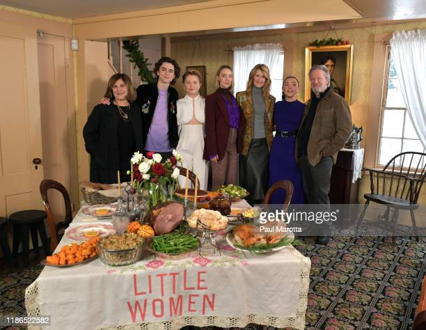 Amy Pascal Timothee Chalamet Eliza Scanlan Saoirse Ronan Laura Dern Florence Pugh and Chris Cooper attend the 'Little Women Orchard House photo call...