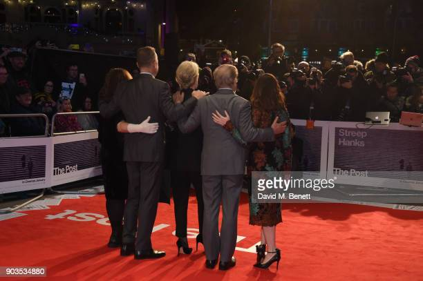 Amy Pascal Tom Hanks Meryl Streep Steven Spielberg and Kristie Macosko Krieger attend the European Premiere of 'The Post' at Odeon Leicester Square...