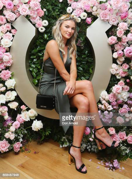 Amy Pejkovic attends Moet Chandon Spring Champion Stakes Day at Royal Randwick Racecourse on October 7 2017 in Sydney Australia