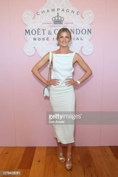 Amy Pejkovic attends the Moet & Chandon Spring Champion Stakes Day Lunch at Royal Randwick Racecourse on October 10, 2020 in Sydney, Australia.