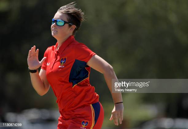 Amy Peterson of South Australia during the South Australia and VIC Metro CA Under 15 Female Championships match at Kingston Oval on February 20 2019...