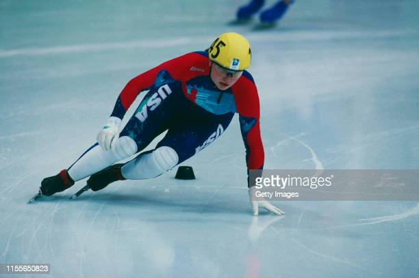 Amy Peterson of the US team competing in the Women's 3000 metre Short Track Speed Skating relay event at the Hamar Olympic Amphitheatre during the...