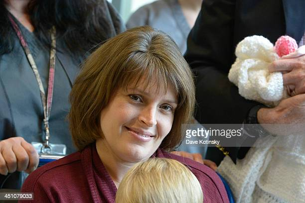 Amy Petitgout Kennedy departs AtlantiCare Regional Medical Center on November 21 2013 in Pomona New Jersey Daughter Nora Kara Kennedy was born at...