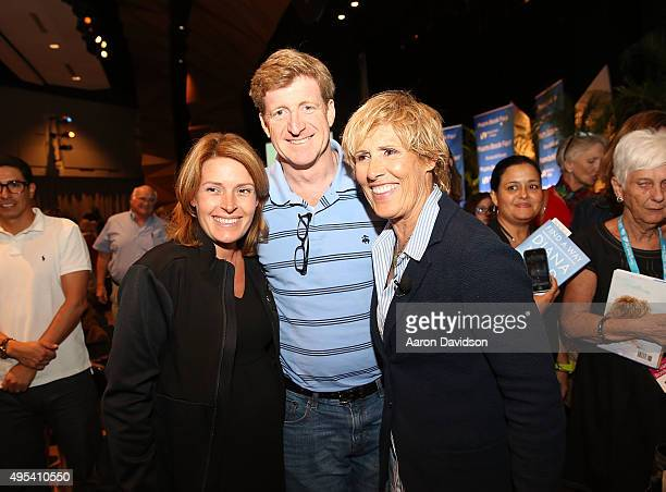 Amy Petitgout Patrick Kennedy and Diana Nyad signs copies of her book Find A Way at Miami Dade College on November 2 2015 in Miami Florida