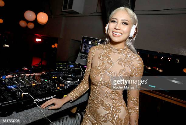 Amy Pham @iamamypham DJs the NYX Professional Makeup Presents Neon Nights IMATS LA VIP Party at The Reserve on January 14 2017 in Los Angeles...