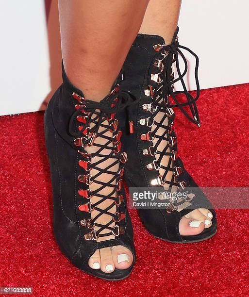 Amy Pham shoe detail attends the premiere of God vs Trump at TCL Chinese Theatre on November 7 2016 in Hollywood California