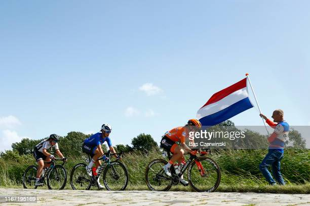 Amy Pieters of Netherlands / Elena Cecchini of Italy / Lisa Klein of Germany / Fans / Public / Cobblestones / during the 25th UEC Road European...