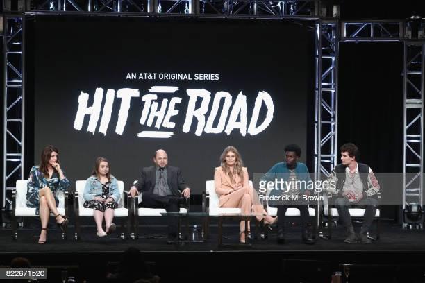Amy Pietz Maddie DixonPoirier Jason Alexander Natalie Sharp Tim Johnson Jr and Nick Marini of 'Hit the Road' speak onstage during the ATT Audience...