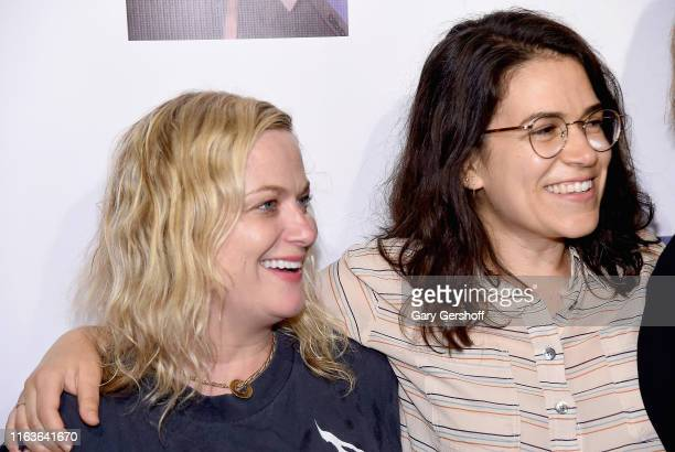 Amy Poehler and Abbi Jacobson attend the opening night of Jacqueline Novak Get On Your Knees at Cherry Lane Theatre on July 22 2019 in New York City