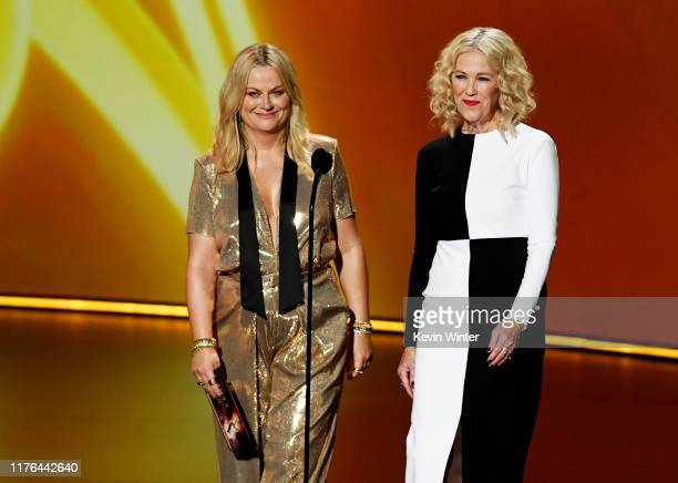 Amy Poehler and Catherine O'Hara speak onstage during the 71st Emmy Awards at Microsoft Theater on September 22 2019 in Los Angeles California