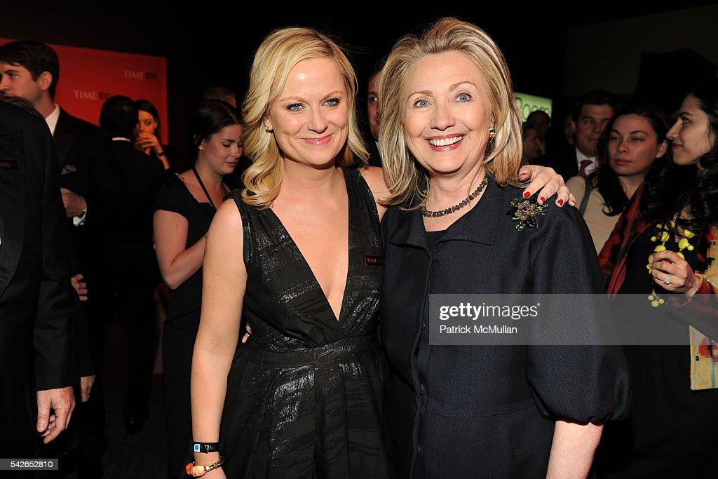 Amy Poehler and Hillary Clinton attend Time 100 Gala: Time's Most Influential People in the World at Jazz at Lincoln Center on April 24, 2012 in New York City.