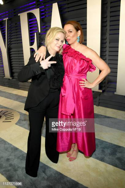 Amy Poehler and Maya Rudolph attend the 2019 Vanity Fair Oscar Party hosted by Radhika Jones at Wallis Annenberg Center for the Performing Arts on...