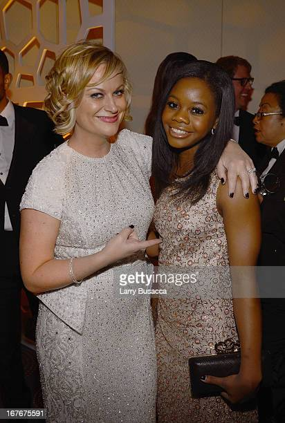 Amy Poehler and Olympic gymnist Gabby Douglas attend the TIME/CNN/PEOPLE/FORTUNE PreDinner Cocktail Reception at Washington Hilton on April 27 2013...
