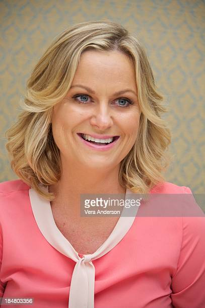 Amy Poehler at the 'Parks Recreation' Press Conference at the Four Seasons Hotel on October 15 2013 in Beverly Hills California