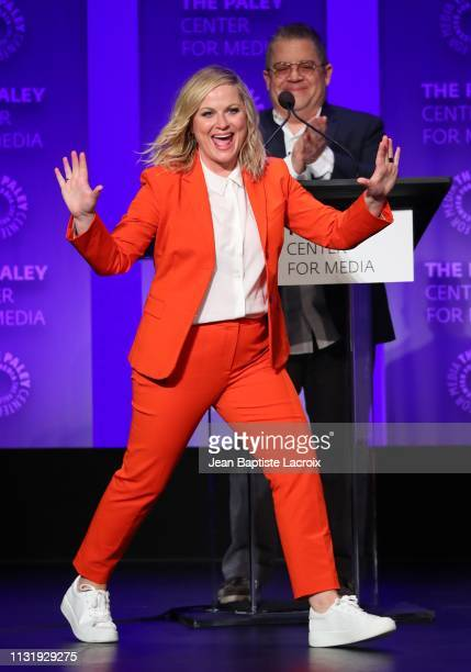 Amy Poehler attends the Paley Center For Media's 2019 PaleyFest LA Parks And Recreation 10th Anniversary Reunion held at the Dolby Theater on March...