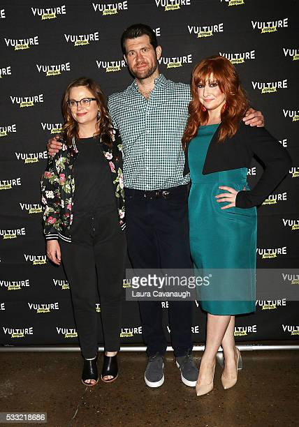 Amy Poehler Billy Eichner and Julie Klausner attend 'Difficult People' Table Read 2016 Vulture Festival at Milk Studios on May 21 2016 in New York...