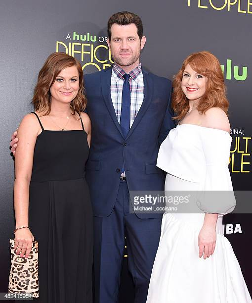 Amy Poehler Billy Eichner and Julie Klausner attend the New York Premiere of 'Difficult People' at the School of Visual Arts Theater on July 30 2015...