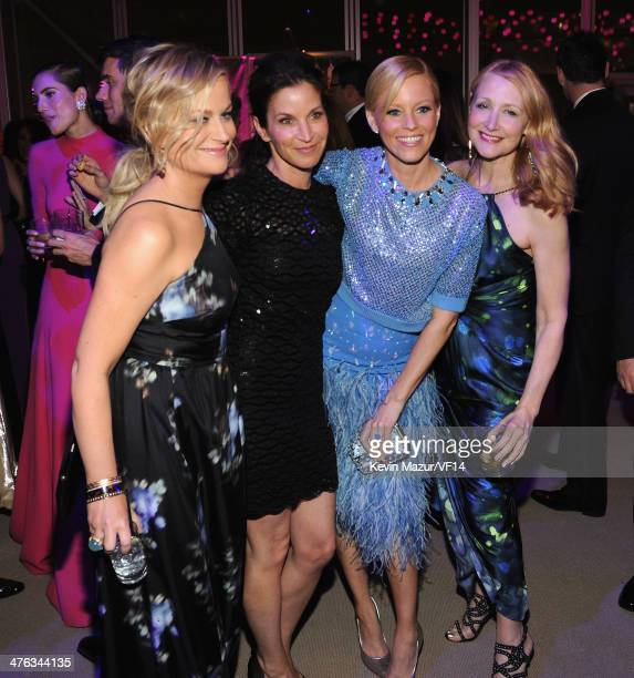 Amy Poehler Elizabeth Banks and Patricia Clarkson attend the 2014 Vanity Fair Oscar Party Hosted By Graydon Carter on March 2 2014 in West Hollywood...