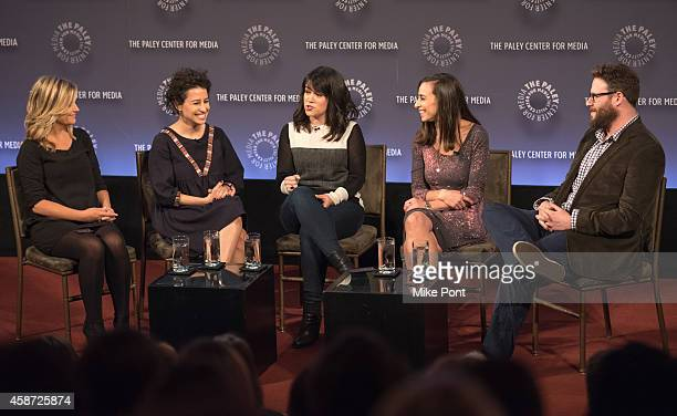 Amy Poehler Ilana Glazer Abbi Jacobson Lucia Aniello and Seth Rogen attend the Id Isn't Always Pretty An Evening With Broad City Panel Discussion at...