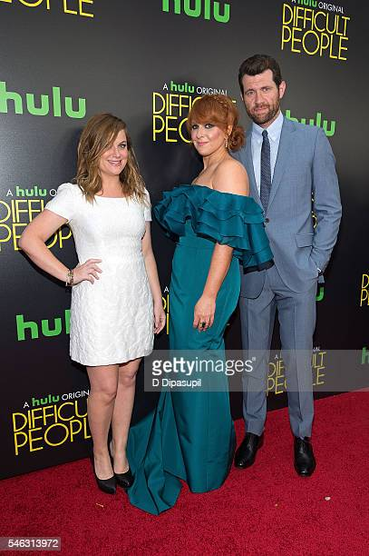 Amy Poehler Julie Klausner and Billy Eichner attend the 'Difficult People' New York premiere at The Metrograph on July 11 2016 in New York City